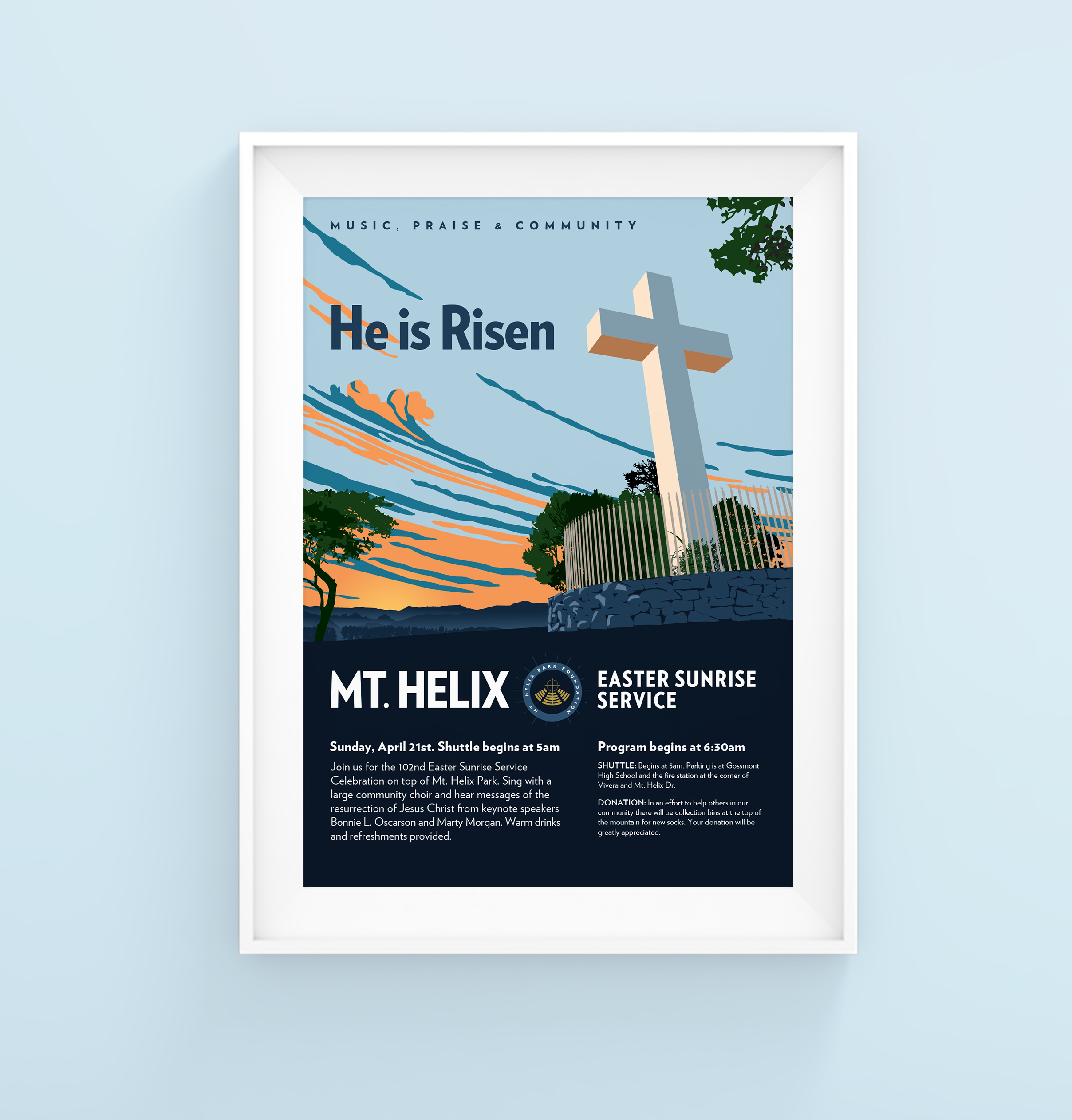 Poster for Mt. Helix Easter Sunrise Service